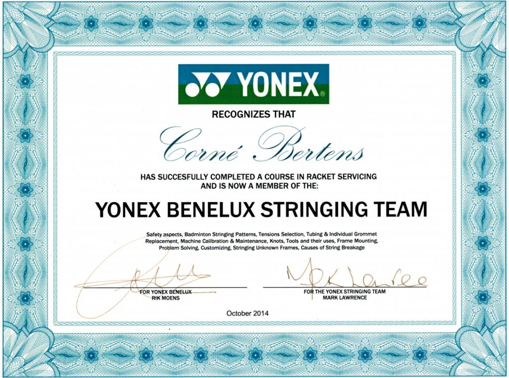 Yonex Benelux Stringing Team